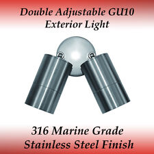 Double Adjustable IP65 External Wall Light in 316 Marine Grade Stainless Steel