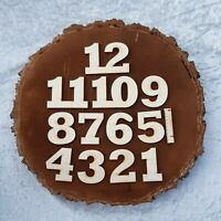 Deutsche Ziffern aus Holz 1-12 für eine Uhr 50 mm Höhe Basteln Deko Arabische