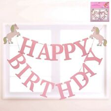 Unicorn Happy Birthday Banner Party Garland 2m Hanging Decoration Girl Fantasy