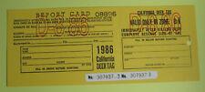 1986 California Dept of Fish & Game Resident Deer Hunting License Tag