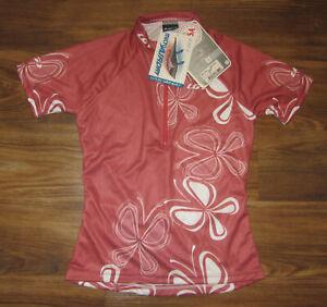 Louis Garneau Womens Short-Sleeve 1/2-Zip Cycling Jersey, Pink, Size, S, New