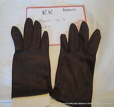 Nos Vintage Fownes Brown Nylon Ladies' Wrist Length Gloves Size 6 Kk