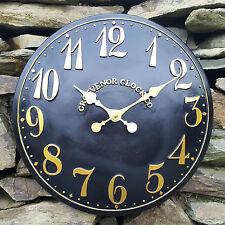Exterior Interior Negro Jardín Reloj De Pared Pintado A Mano Iglesia Reloj 38cm ds5111