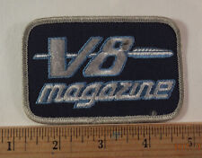 """Vintage V8 Magazine Embroidered Sew-On Patch  4X2.5"""""""
