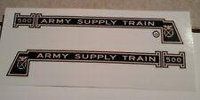 MARX 500 ARMY SUPPLY TRAIN LOCO ENGINE 2/SET BLACK & GOLD WATERSLIDE DECAL LOOK!