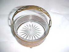 BRASS Old Antique Trinket Dish Sunburst Glass