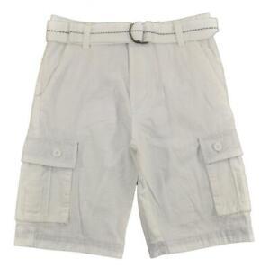 US Polo Assn Big Boys White Cargo Short W/Belt Size 8 10 12 14 16 18