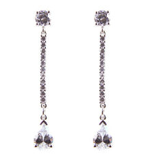 Diamond-Unique Pear Dropper Earrings Solid Silver Rhodium Platinum (50797)