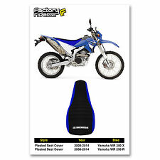 2008-2014 YAMAHA WR 250 X & R Blue Sides / Black Top PLEATED GRIPPER SEAT COVER
