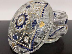 Vintage Cobalt Blue & Gold Enamel Crystal Clear Glass Candy Bowl Trinket Box