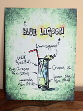 Retro Blue Lagoon cocktail recipe  A5 metal sign house gift idea vintage design