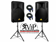 "Behringer 2x B215XL 2-Way 1000W 15"" Passive Speaker With Stand & Free XLR Cables"