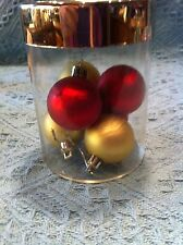 NOS COVERED GLASS CONTAINER (JAR) FILLED WITH VINTAGE GLASS ORNAMENTS