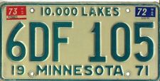 MINNESOTA1973 EMBOSSED LICENSE PLATES MATCHING PAIR 6DF 105 $19.99 NO RESERVE!