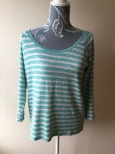 TU Womens Jumper Size 12 Turquoise Ivory Striped 3/4 Sleeved Scoop Neck