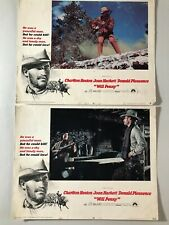 2 Original Lobby Cards 11x14: Will Penny (1967) Charlton Heston, Joan Hackett