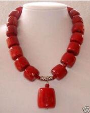 "fashion Huge Red Cylinder Coral Necklace pendant 18"""