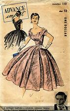 1950's VTG Advance Dress Original Design Norman Hartnell Pattern 110 Size 12