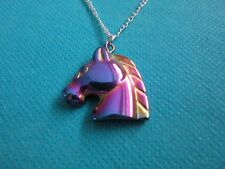 """925 Sterling Silver Pendant With Haematite Carved Horse Head 18"""" Chain  (nk1745)"""