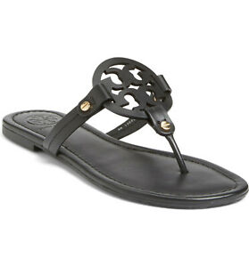 NIB Tory Burch Miller Leather Thong Sandal BLACK US 7 7.5 8 8.5 9 9.5 AUTHENTIC