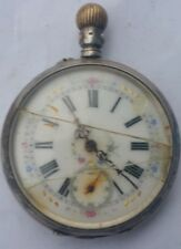"Pocket Watch - Silver 0.800  "" Remontoir Cylindre 8 Rubis "" / Not Working"