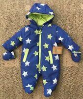 Lily & Jack Infant Baby 1 Piece Snowsuit Blue Size 0-3 Months Star Print K12368