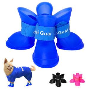 4pcs Cute Dog Shoes Paw Protector Pet Rain Boots Non-Slip Waterproof Puppy Sock