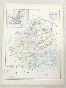 1881 Antique French Map Chateauroux Indre France Old Hand Coloured Engraving