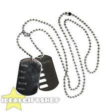 DOG TAG NECKLACE MENS LADIES ARMY MILITARY FANCY DRESS ACCESSORY SOLDIER