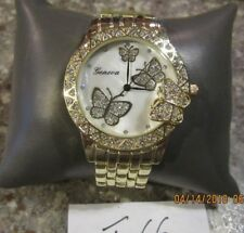 DESIGNER'S GENEVA 3D BUTTERFLY GOLD TONE+CRYSTALS MOP DIAL WATCH F66