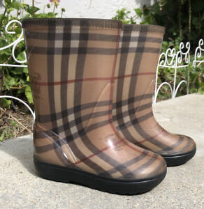 Burberry Rubber Rain Boots Girls Size 6 7 Plaid Nova Check Pull On