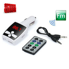 Dual USB LCD Car Kit MP3 Player Wireless FM Transmitter Modulator SD MMC Remote