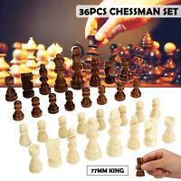 32 Piece Wooden Carved Chess Pieces Hand Crafted Set Large 77mm King Kid