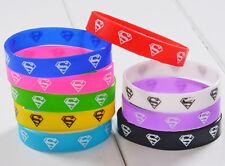 Lot 100pcs color Superman logo Multicolor Sports silicone bracelet wristband C01