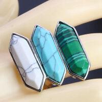 Women Rhombus Turquoise Geometric Knuckle Mid Finger Band Rings Elegant Jewelry