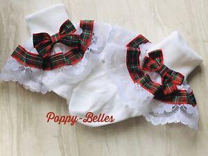 Handmade tartan bow frilly lace  baby/ girls socks various sizes