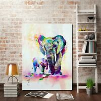 Wildlife Colorful Elephant Picture Canvas Print Oil Painting Home Decor Wall Art