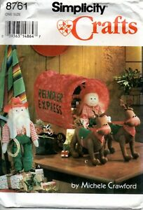 Simplicity Crafts Sewing Pattern 8761 Santas Reindeer and Covered Wagon