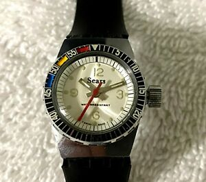 Vintage SEARS Manual Diver rotating bezel LADIES SWISS MADE Fully Serviced WATCH