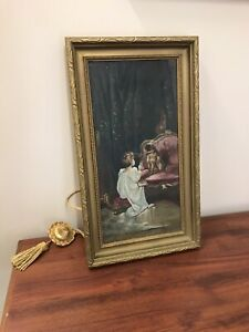 Antique Vtg Oil Painting Victorian Portrait Child w/ Pug Dog Emery Dry Goods