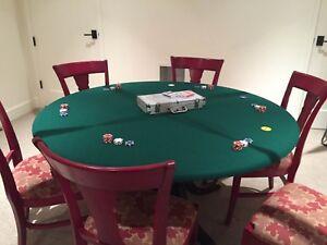 Poker Felt Table cover - round felt table cloth MADE TO ORDER  mahjong dws bl