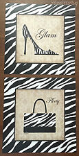 2 Animal Zebra Print SHOE & PURSE 8x8 Posters Fashion Wall Decor Heels Handbag