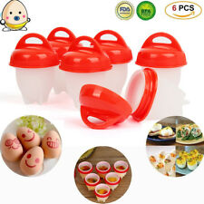 6Pcs Silicone Egglettes Egg Cooker Hard Boiled Eggs without the Shell Egg Cup US