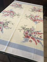 "Vintage Styled in Paris Red Floral on Light yellow Decor Tablecloth 51"" x 61"""