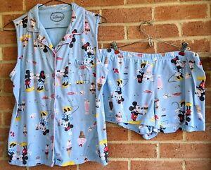 Disney Store Mickey & Minnie Blue Pajamas Shorts Sz XL Ice Cream Print