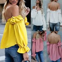 Fashion Women Off The Shoulder Long Sleeve Chiffon Lace Up T-Shirts Tops Blouse