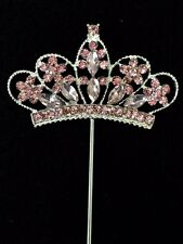 Pink Rhinestone Princess Crown Tiara Pick Cupcake Topper Girls Bday Party Favor