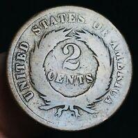 1865 US Two Cent Piece 2C Ungraded Civil War Era Worn Date US Copper Coin CC3543