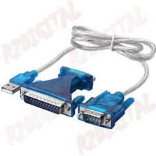 ADATTATORE CAVO CONVERTITORE USB MASCHIO a SERIALE DB9 + PARALLELO DB25 RS232