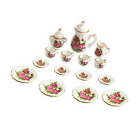 15Pieces 1/12 Dollhouse Miniature Dining Ware Rose Flower Porcelain Tea Set